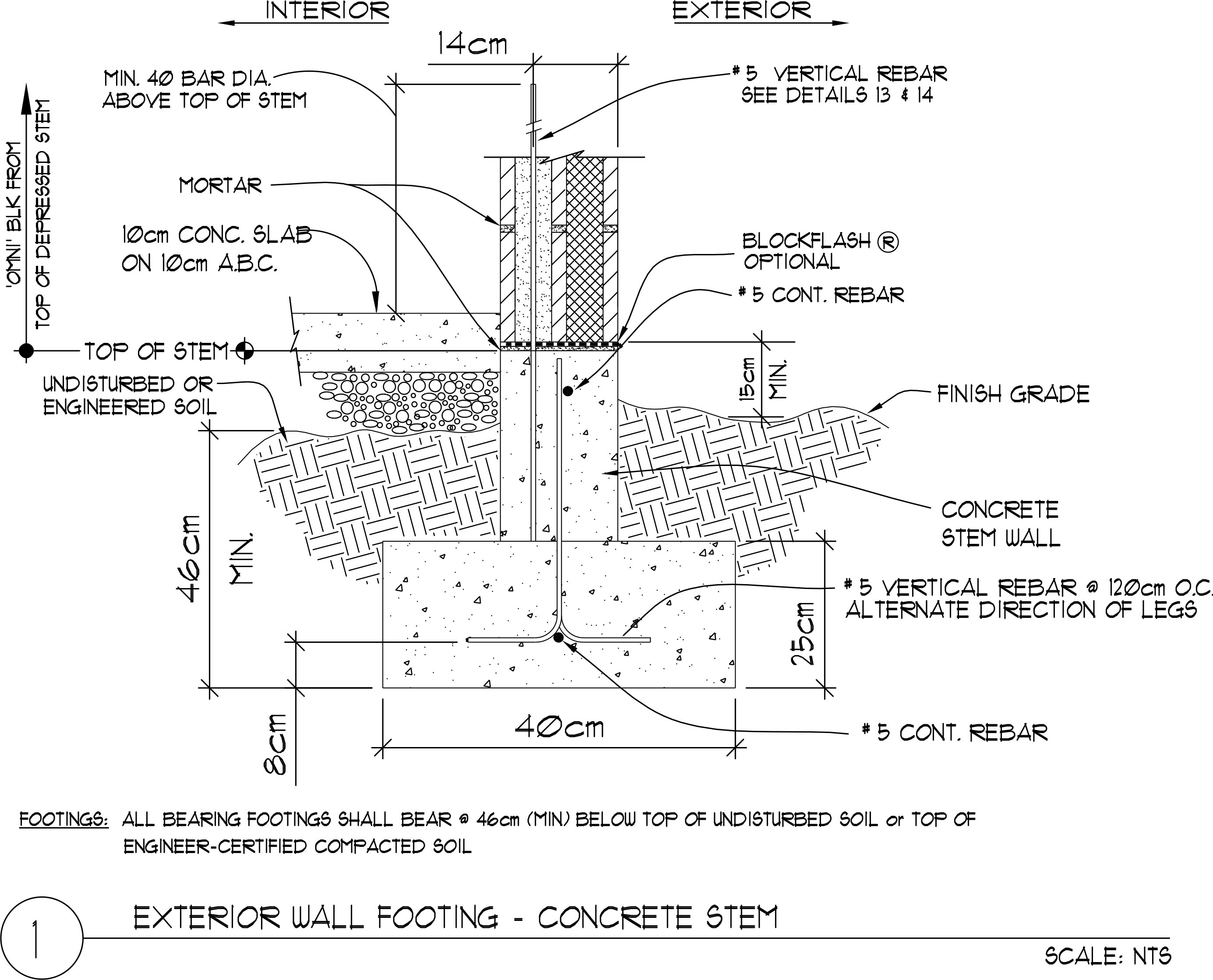Exterior Wall Footing Concrete Stem 20 X 20 X 40 Omniblock