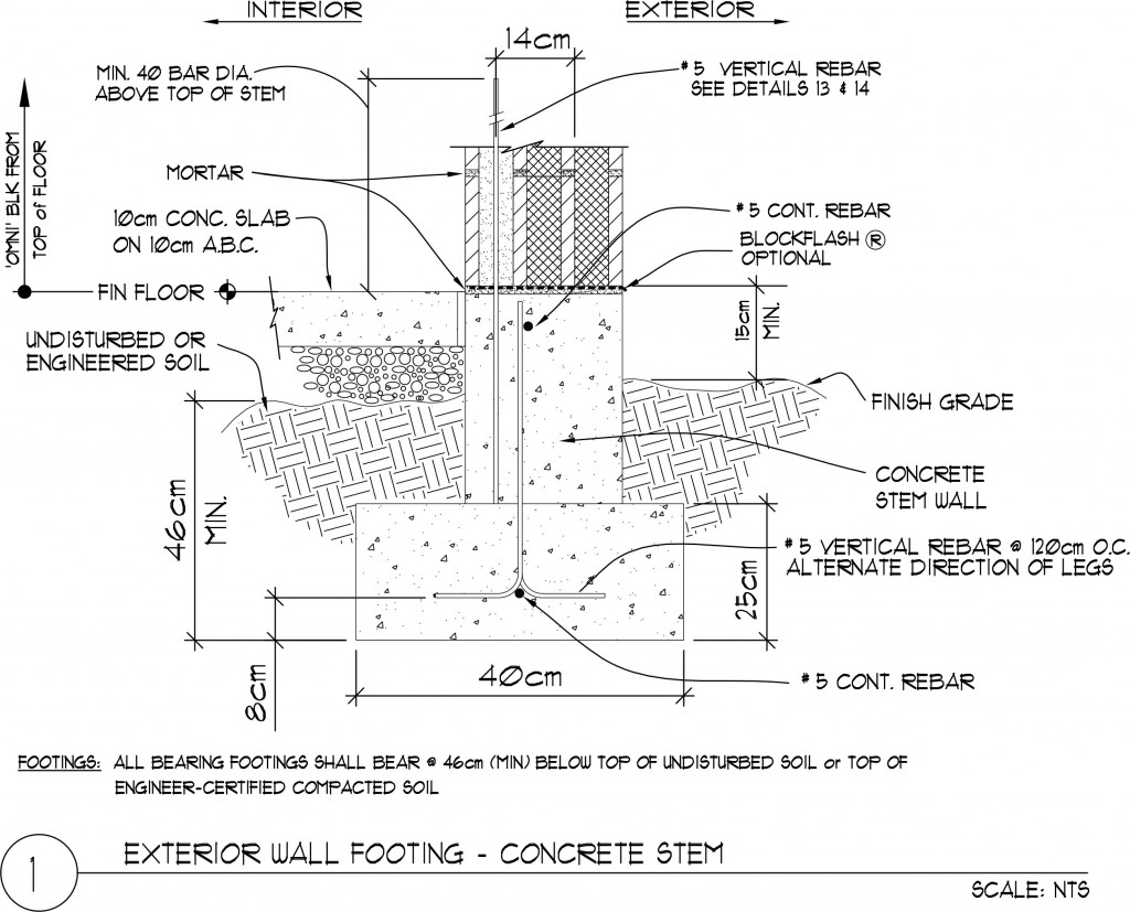 Exterior Wall Footing Concrete Stem 30 X 20 X 40 Omniblock