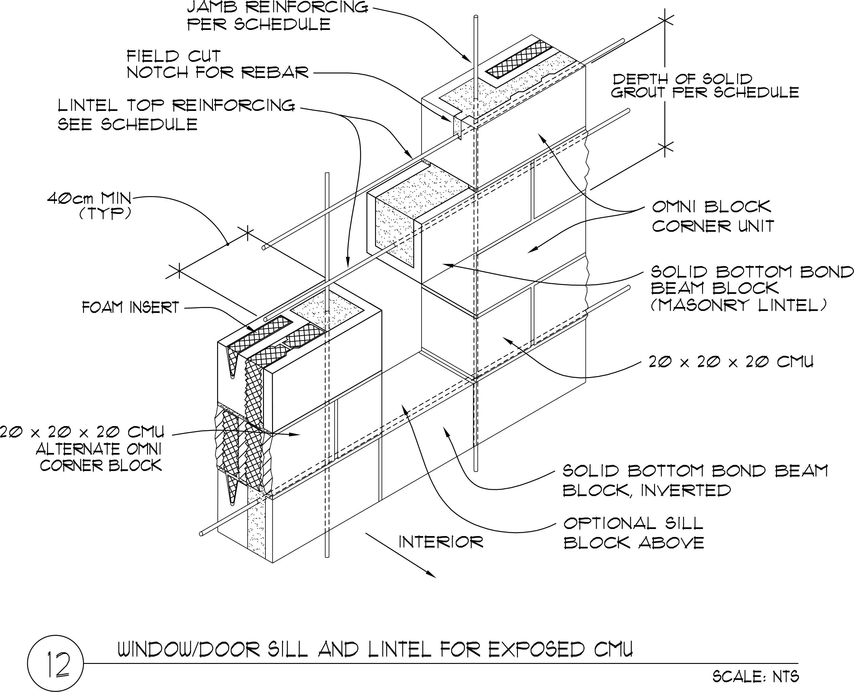Window door masonry lintel 20 x 20 x 40 omniblock for 20 40 window