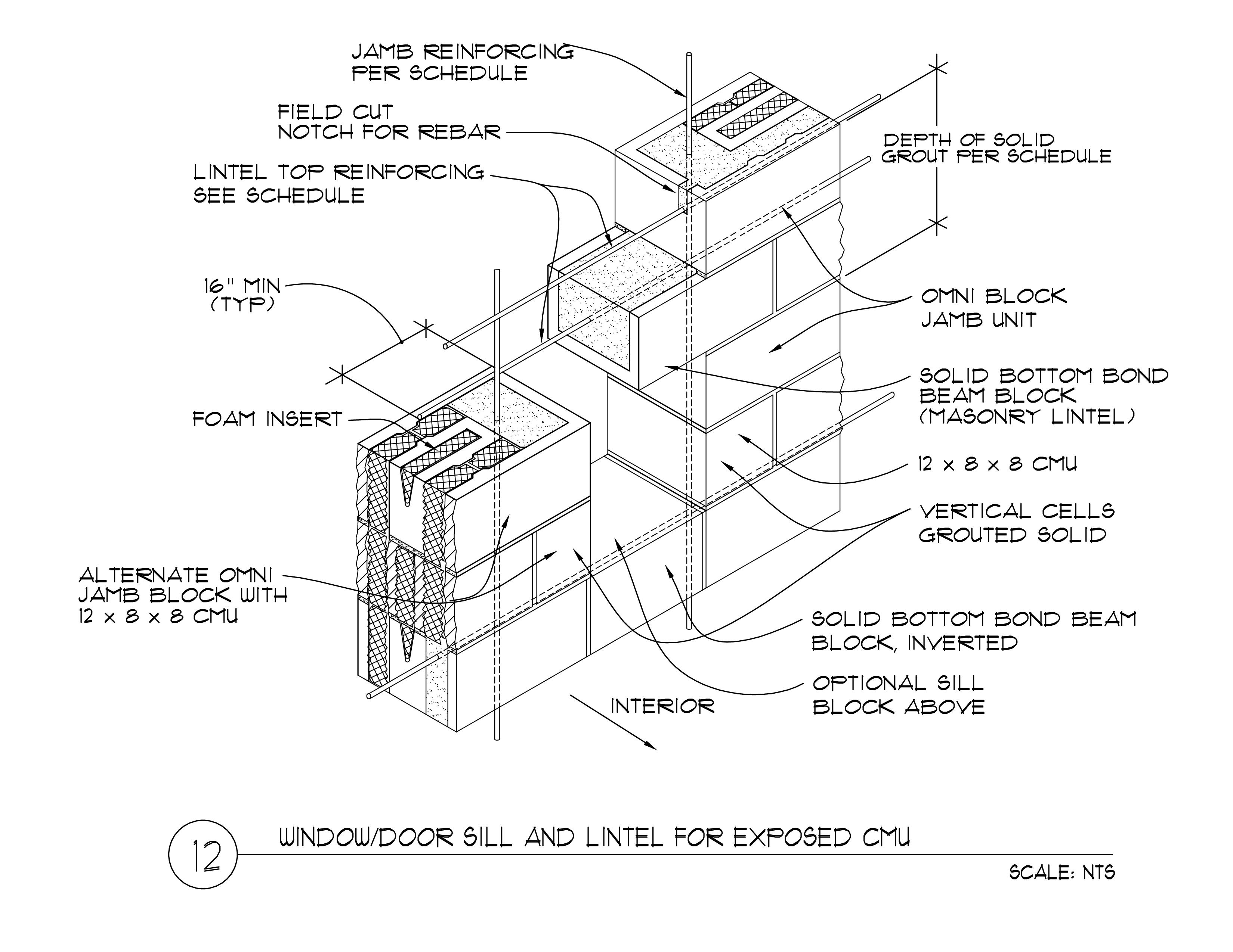 Detail 12 12x8x16-1  sc 1 st  Omni Block & Window / Door Masonry Lintel 12 x 8 x 16 - Omniblock