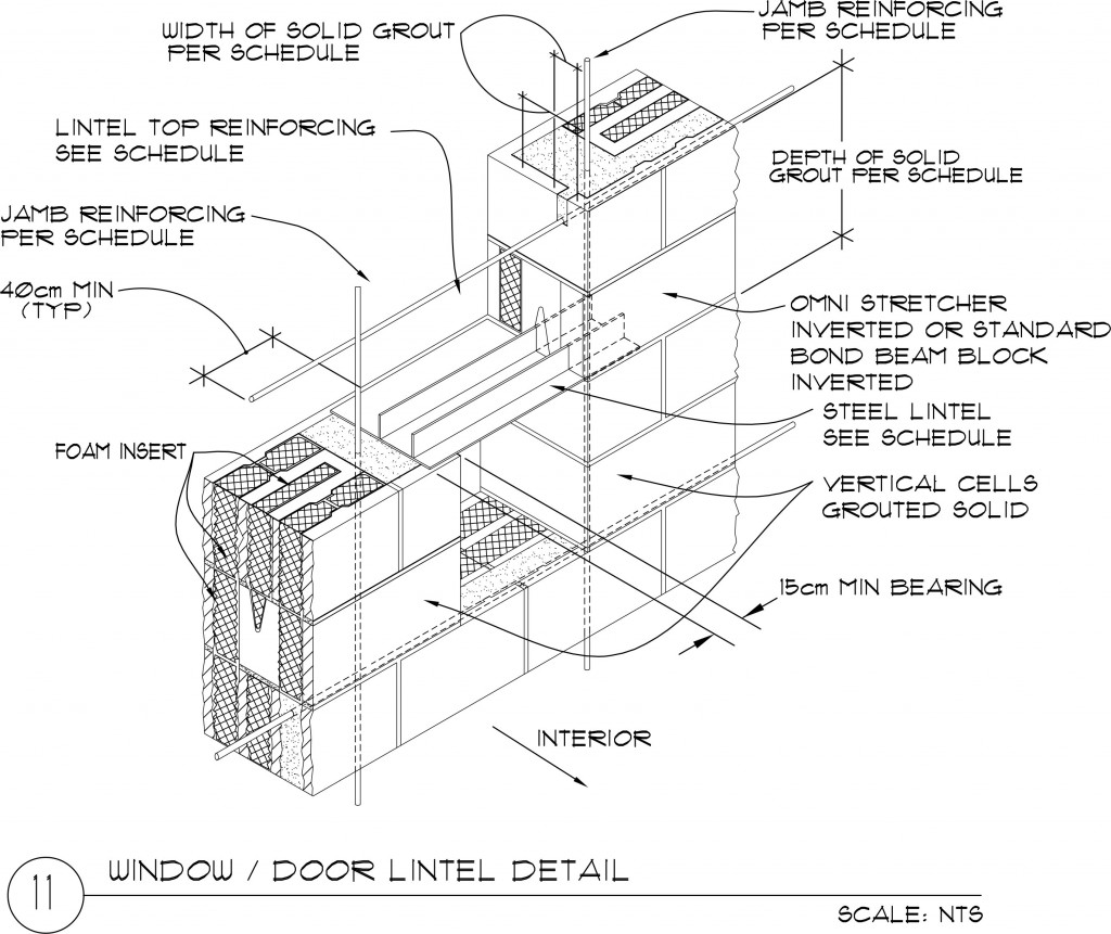 Window door lintel 30 x 20 x 40 omniblock for 20 40 window