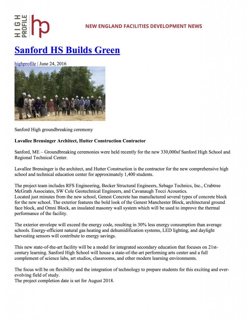Sanford HS Builds Green