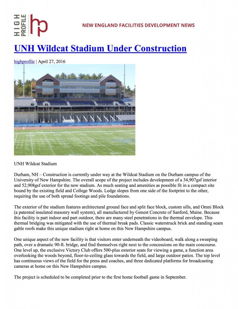 UNH Wildcat Stadium Under Construction